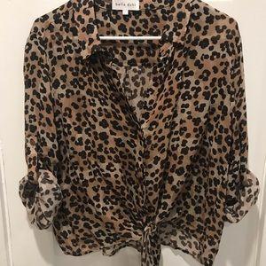 Bella Dahl Leopard Short Tie Front Top